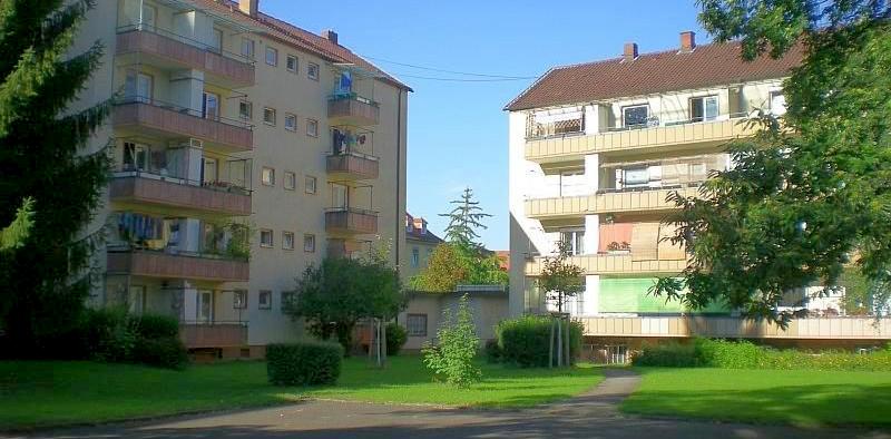 Innenhof eines der Gebüdekomplexe im Klinikviertel die abgerissen und durch teure Neubauten ersetzt werden sollen (Foto: N. Armbruster)
