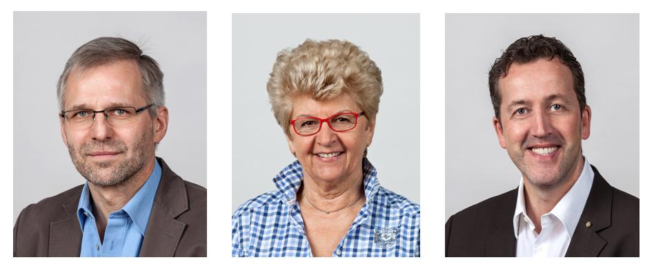 Die drei gewählten Stadträte von Freiburg Lebenswert: Dr. Wolf-Dieter Winkler, Gerlinde Schrempp und Karl-Heinz Krawczyk