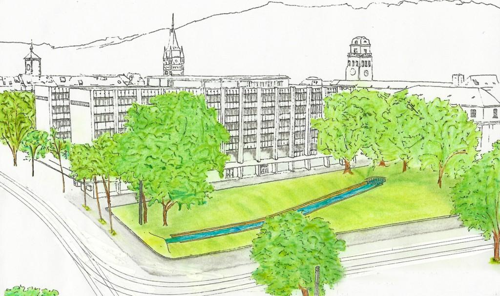 Vorschlag zur Gestaltung des Platzes der alten Synagoge (Visualisierung: K. Zipsin)