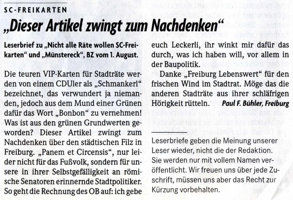 Leserbrief in der Badischen Zeitung vom 18. August 2014
