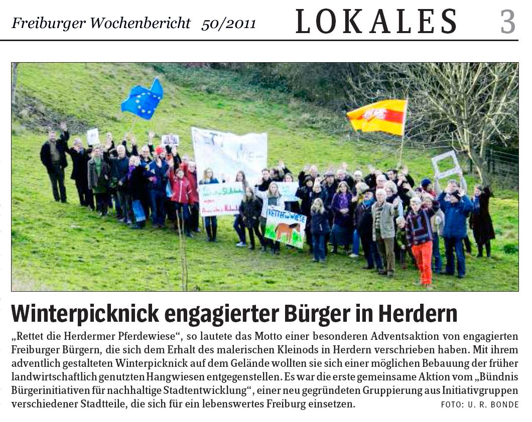 Starker Protest formierte sich gegen die Bebauung der Pferdewiese. Hier: Freiburger Wochenbericht vom 04.12.2011