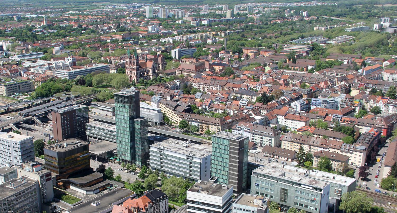 Blick auf den Stadtteil Stühlinger (Foto: W.-D. Winkler)