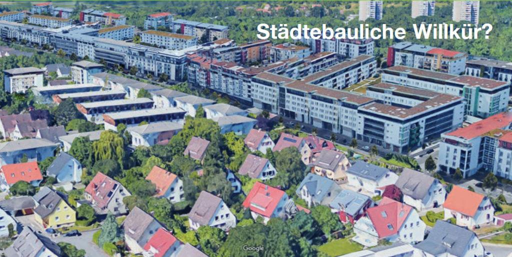 Fotomontage des Bürgervereins mit neuer Bebauung im Mooswald