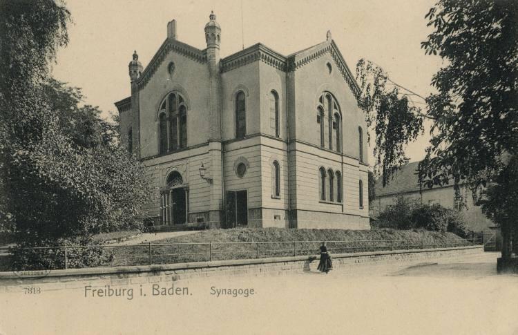 Postkarte der Synagoge von Freiburg, um 1900 (Foto: Unbekannt - www.alt-freiburg.de)
